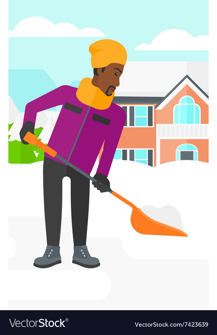 man shoveling and removing snow royalty free vector image