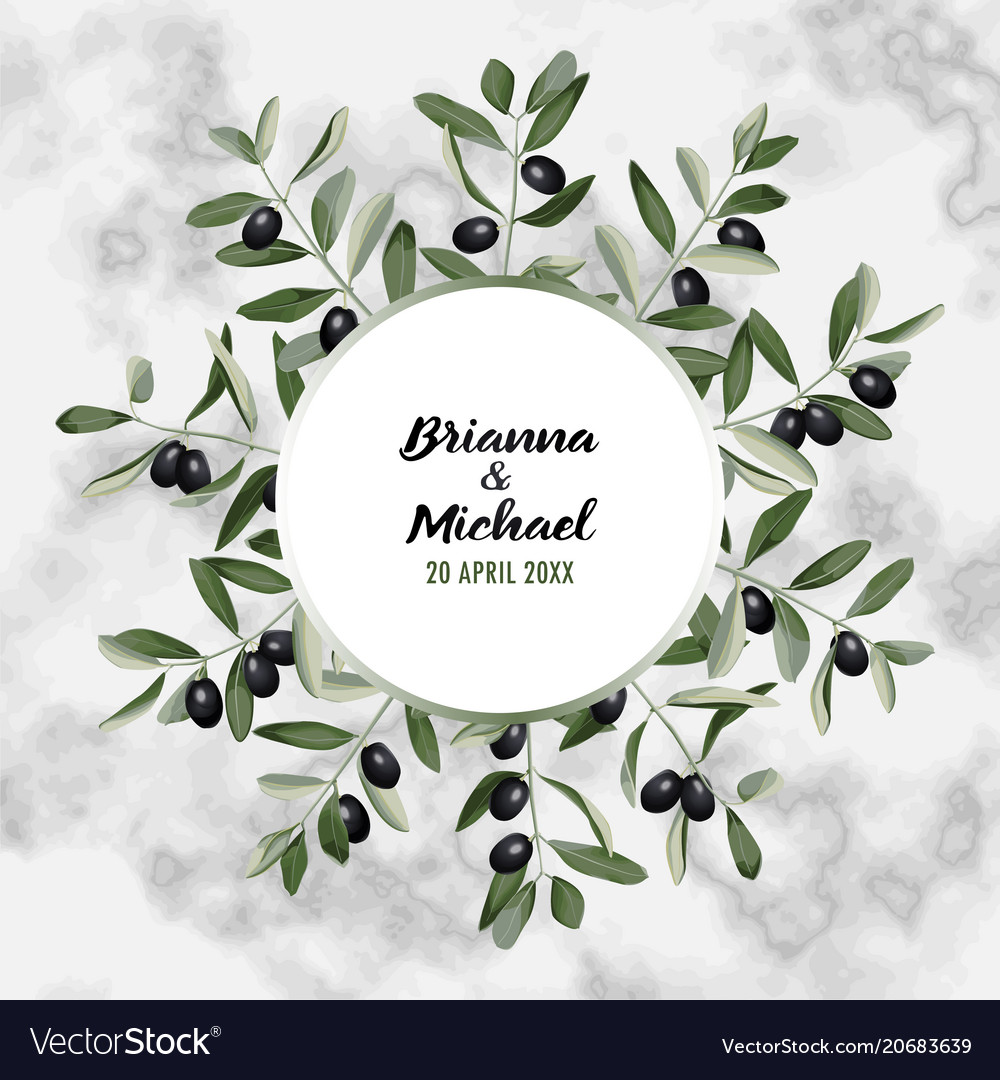 Marble wedding invitation card with olive brunches