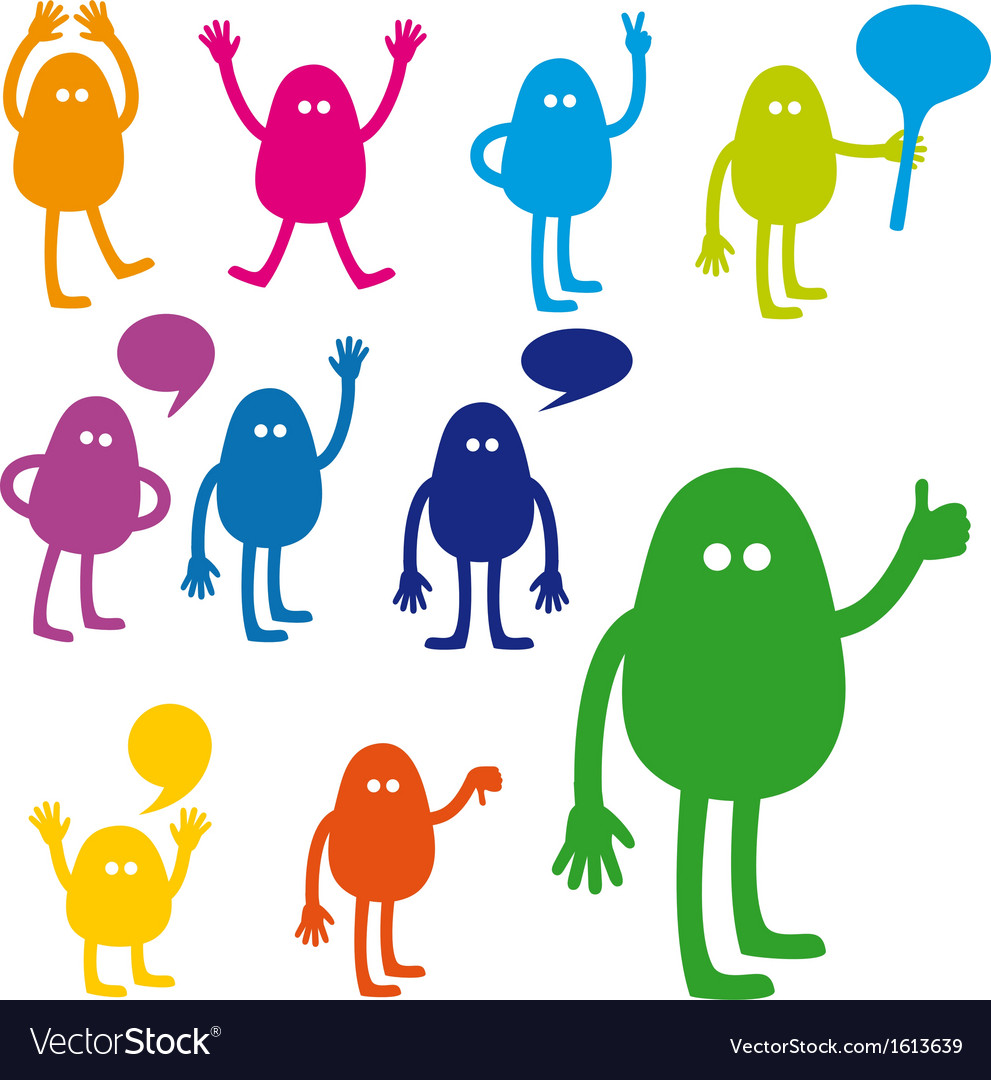 Monster set with hand signs vector image