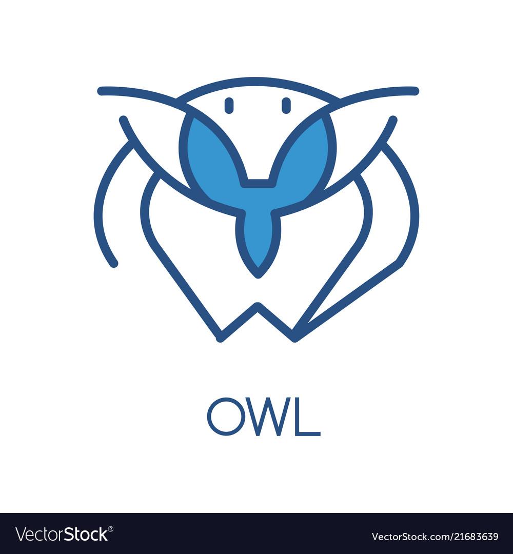Owl logo design blue label badge or emblem