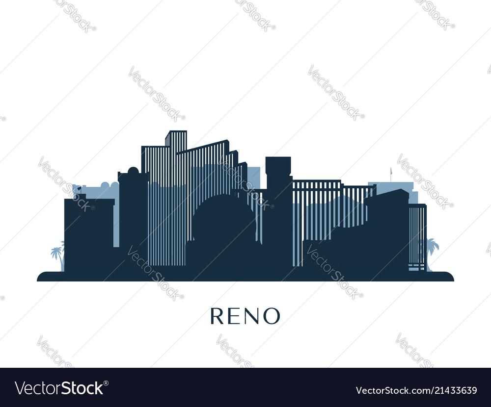 Reno skyline monochrome silhouette