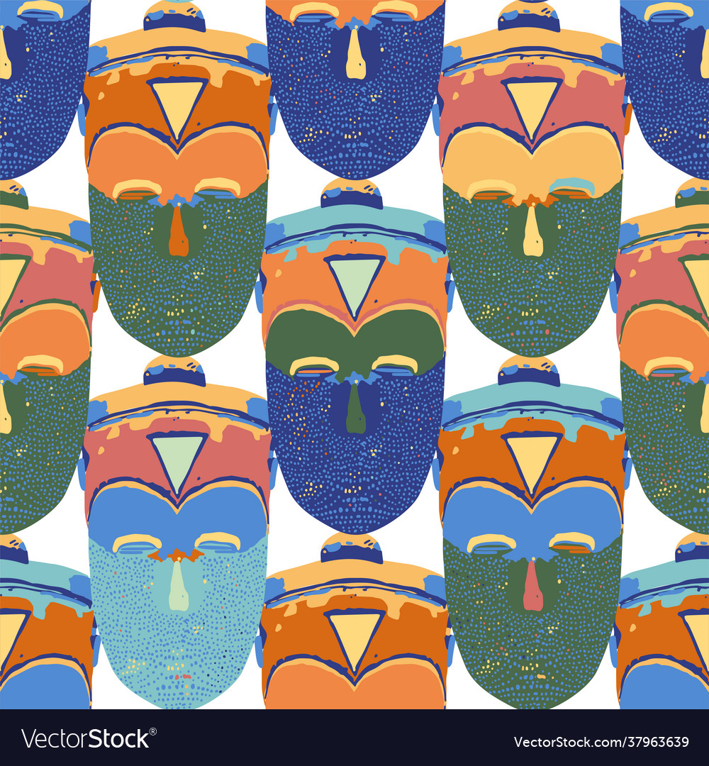 Seamless pattern vintage woodenn masks