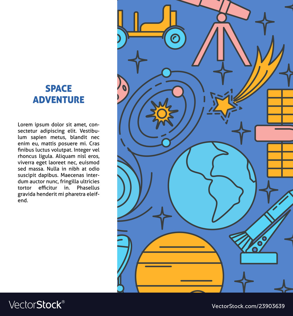 Space elements background in line style with place