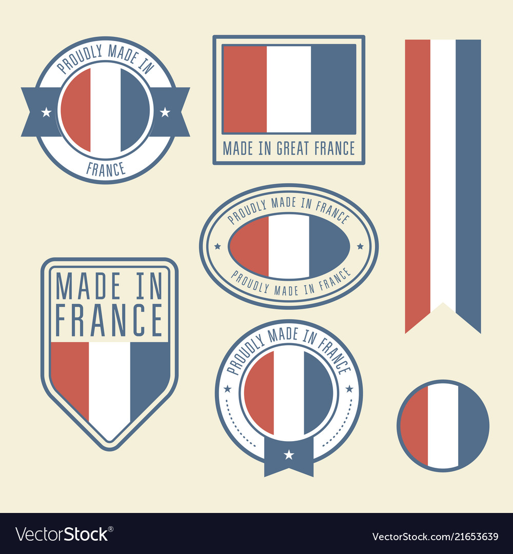 Stickers tags and labels with france flag - badges