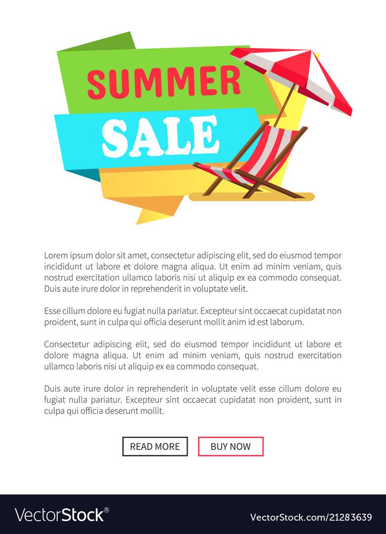 Summer sale label sunbed chaise lounge umbrella