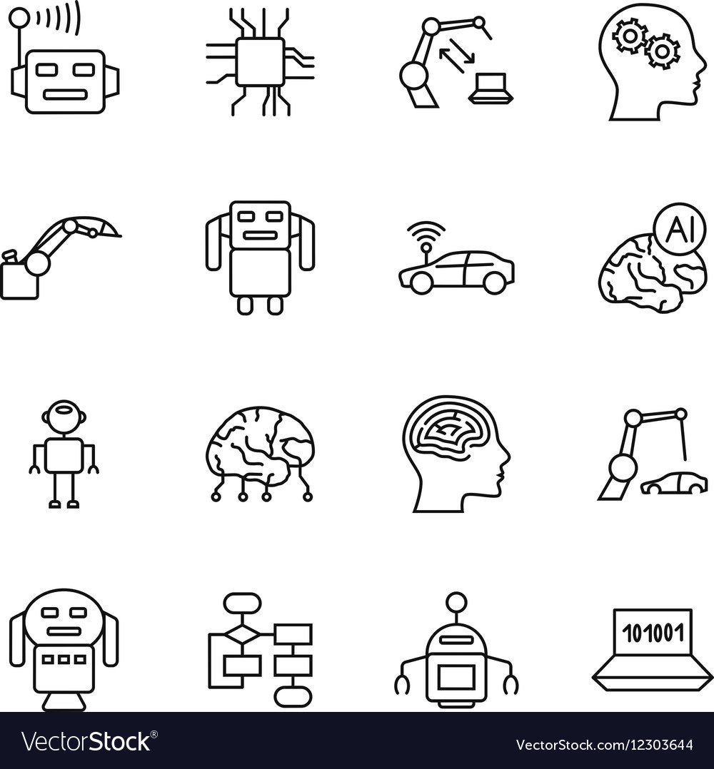 Artificial intelligence AI line icons Robot