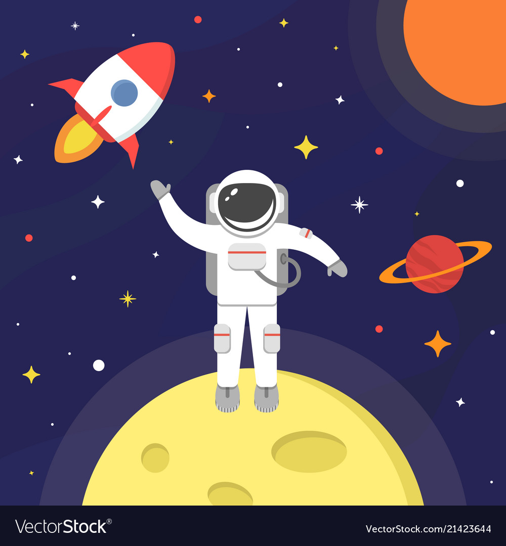 Astronaut in outer space spaceman isolated on