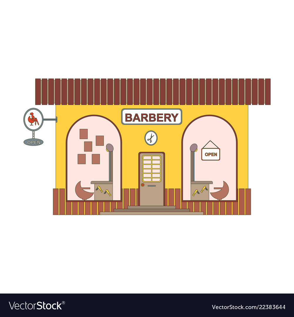 Barbery shop cartoon icon in flat style barber