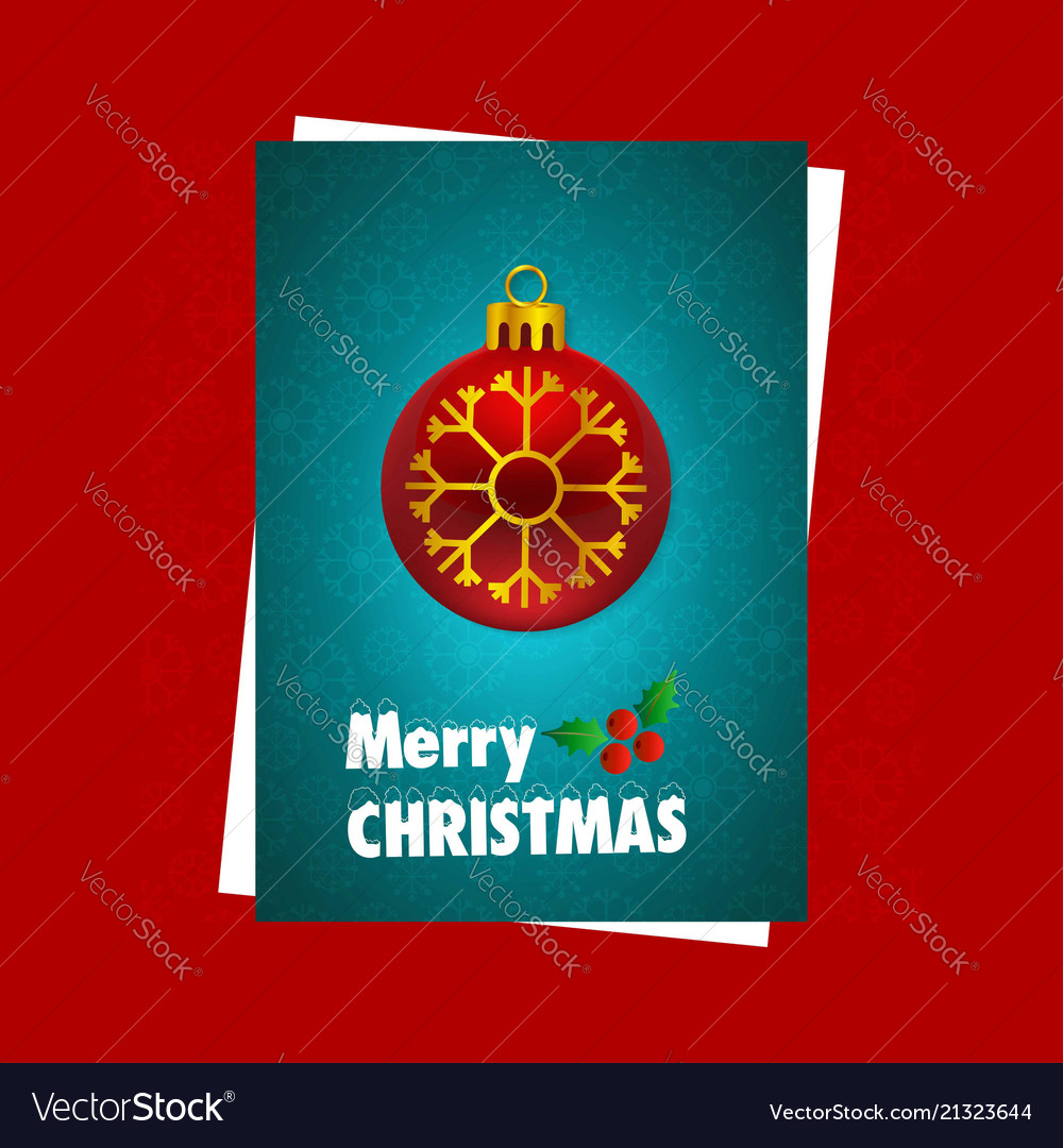 Christmas card with red background and snow