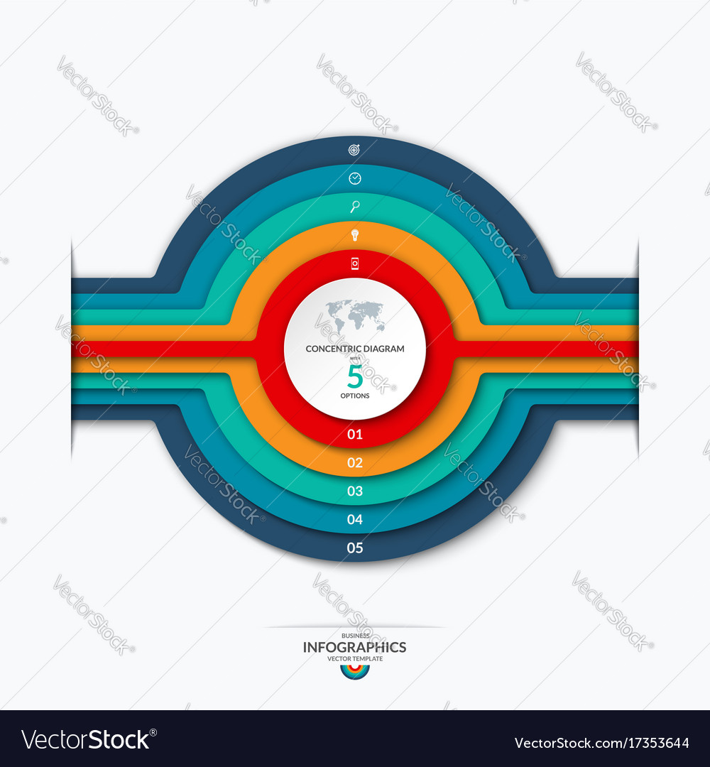 Concentric circles diagram for infographics vector image ccuart Gallery