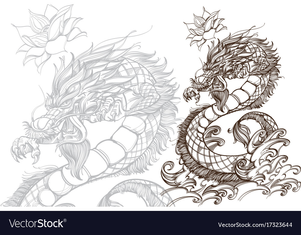 Contour image of dragon zodiac animal sign