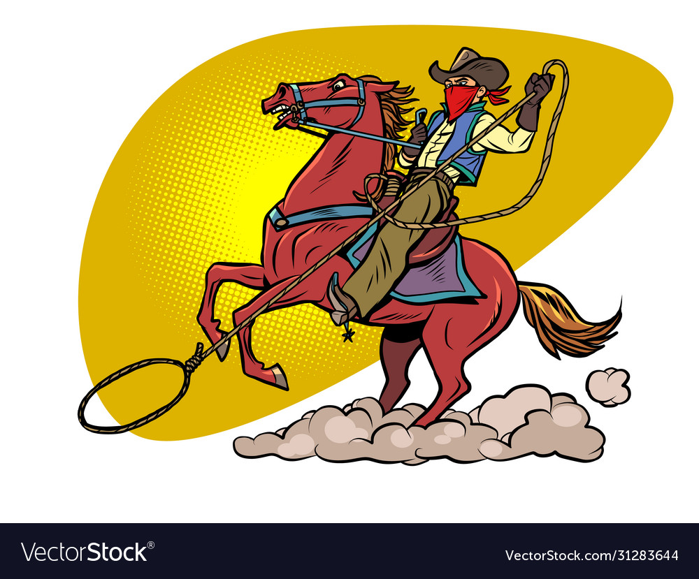 Cowboy on a horse with a lasso