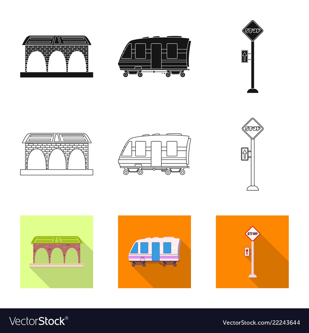 Isolated object of train and station symbol set