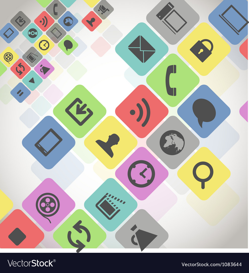 Modern media icons in color squares vector image