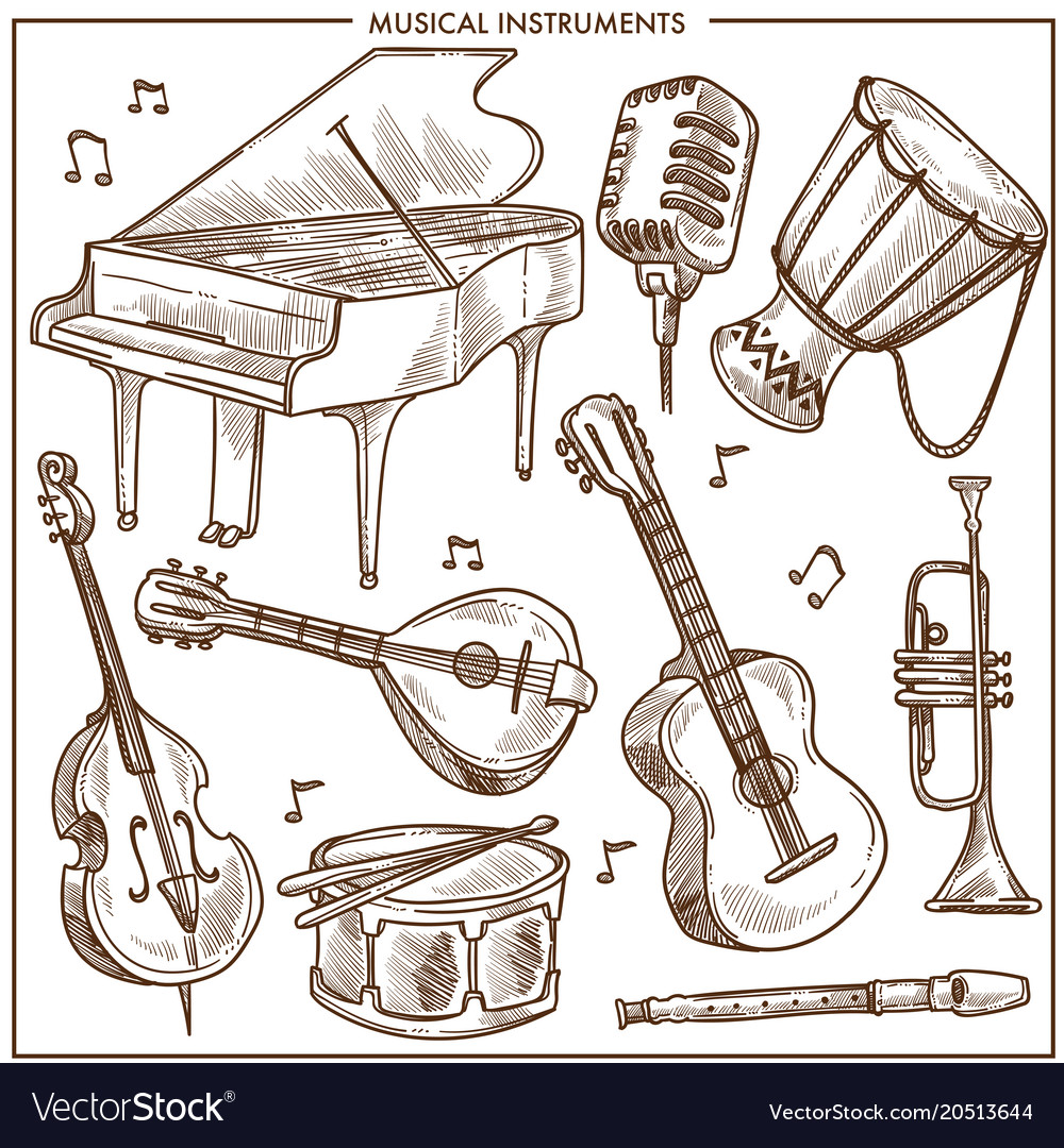 Musical instruments sketch icons collection