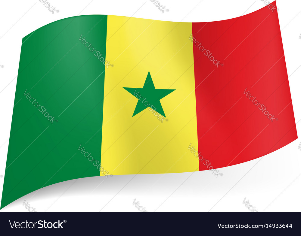 National flag of senegal green yellow and red