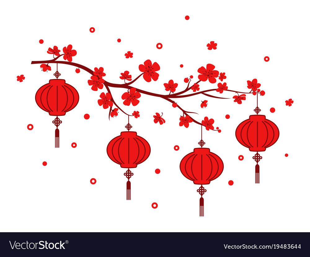 New year red lantern on white background