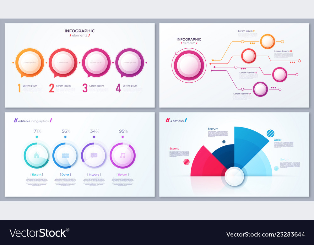 Set of 4 options infographic designs