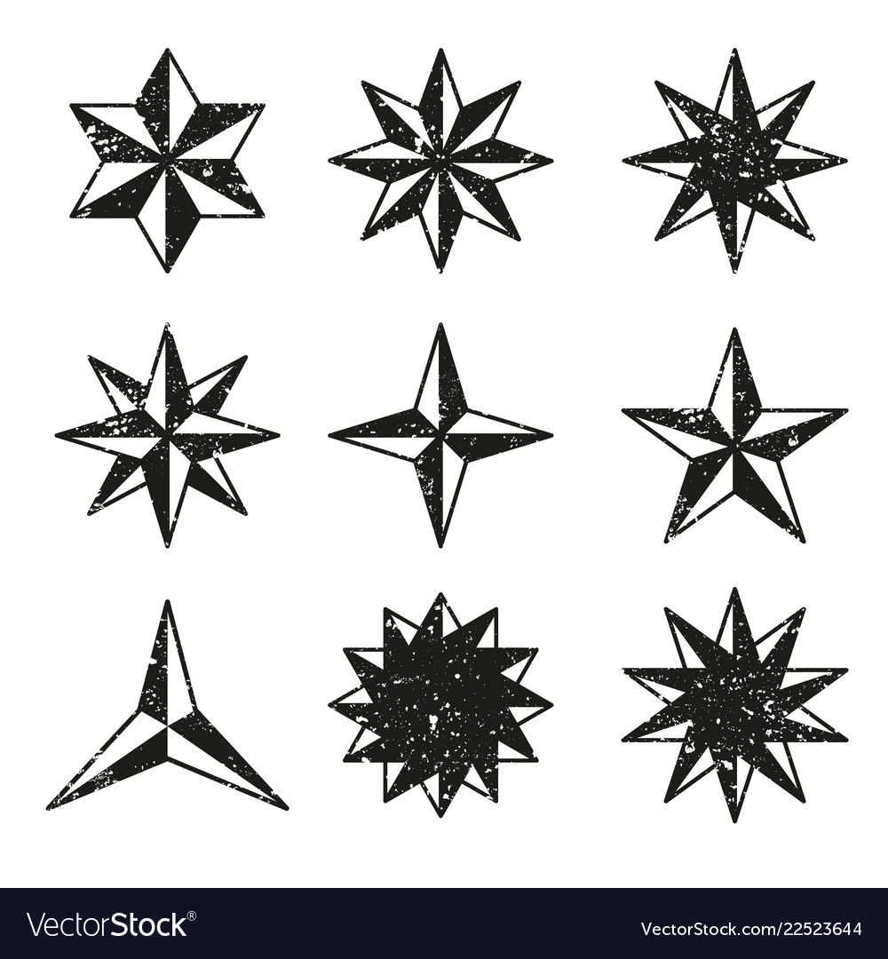 Stars grunge icons set vector