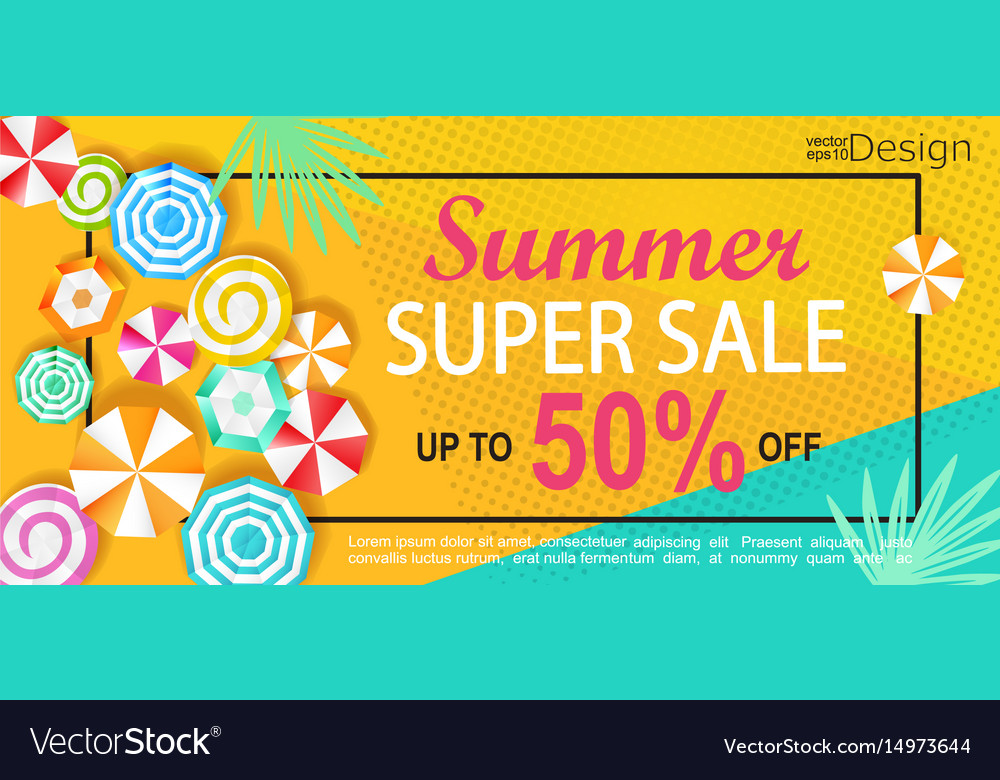 Summer super sale banner vector image