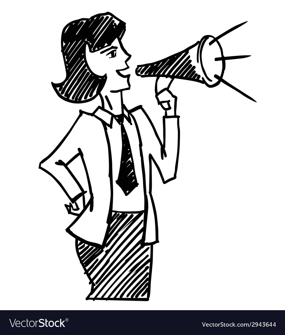 Woman with megaphone vector image