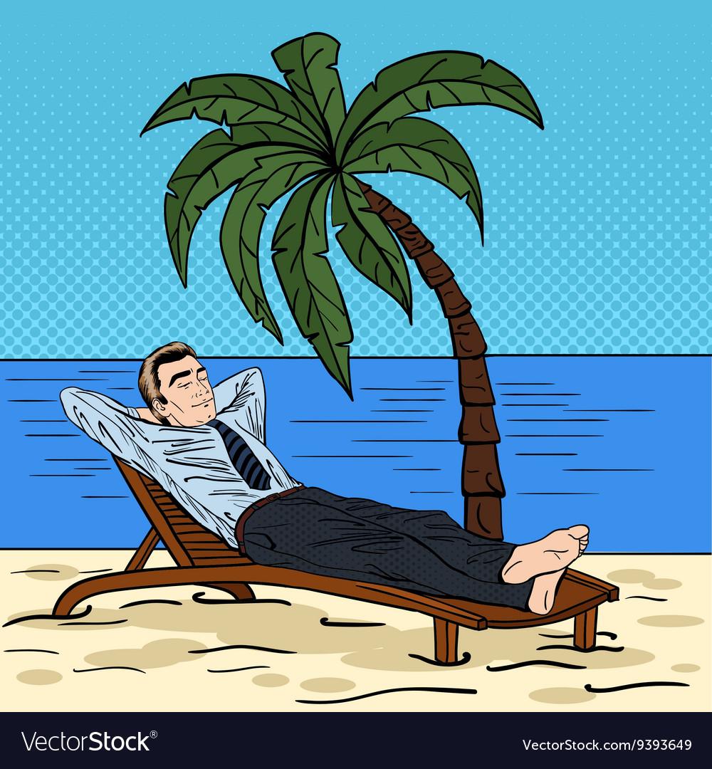 45c6f701ba Businessman Relaxing on the Beach Pop Art