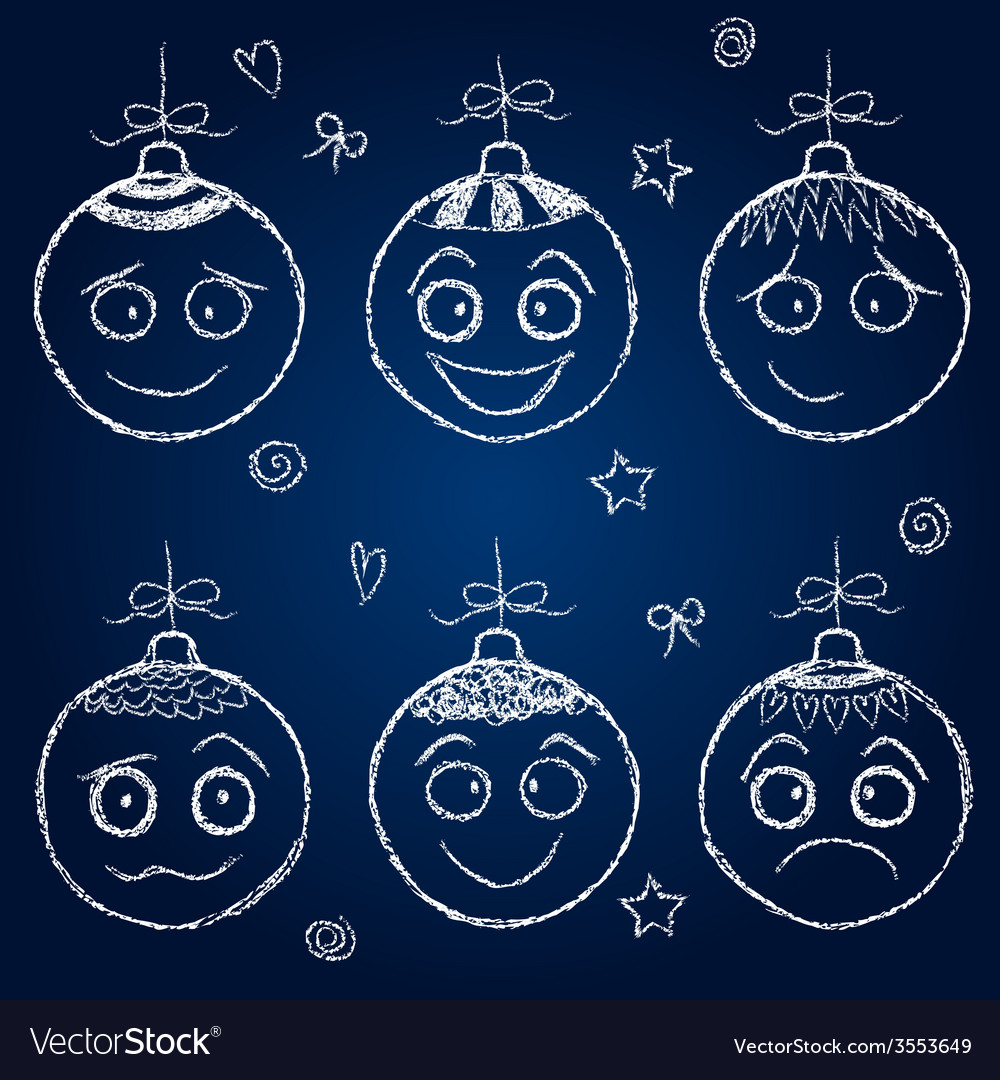 Christmas decorations - chalk balls faces