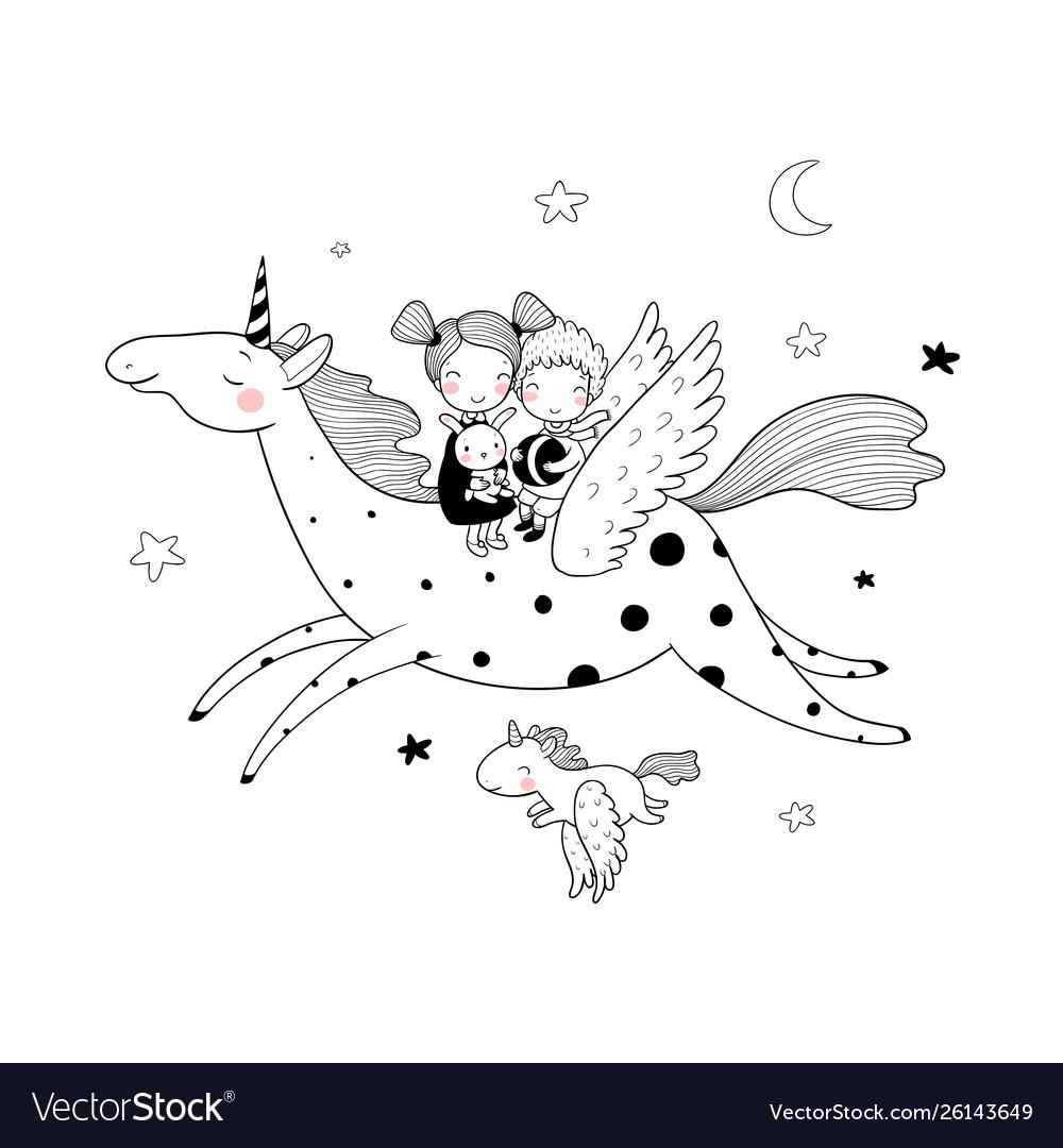 Cute cartoon boy and girl and unicorn