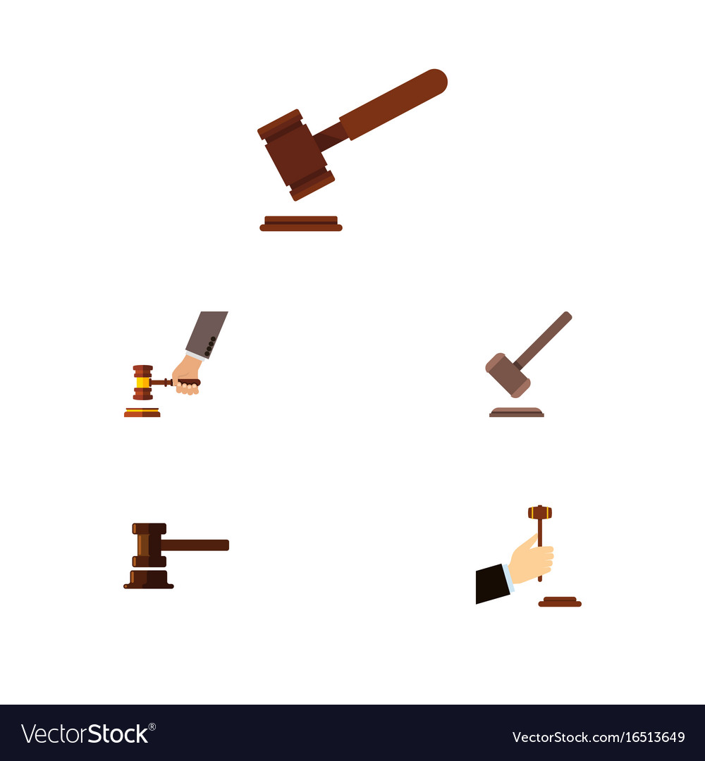 Flat icon hammer set of law justice crime and