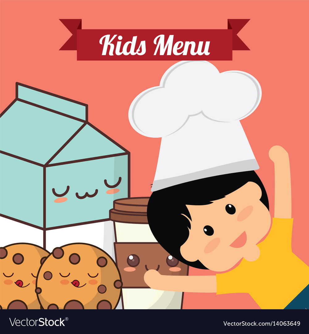 Kids menu chef child milk cookie