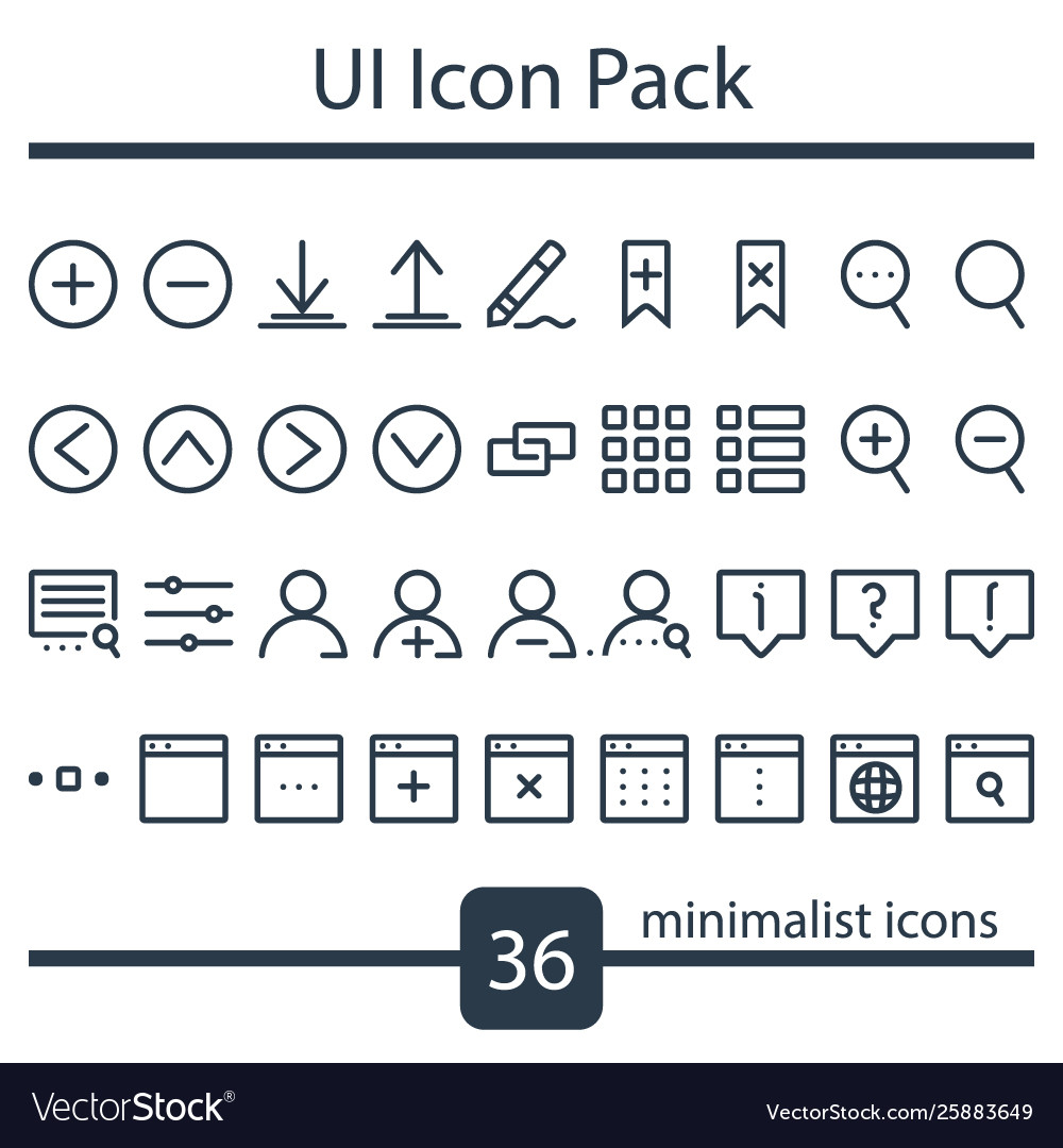 Minimalist set ui icons