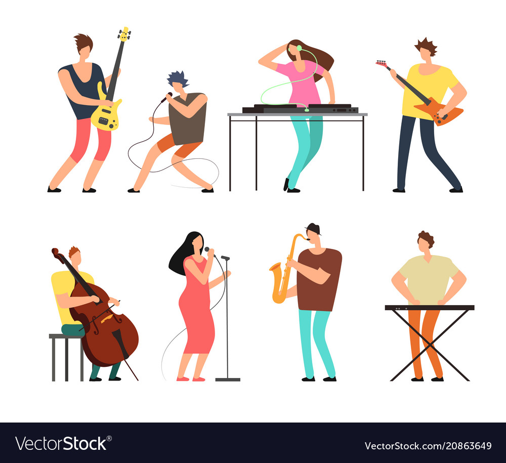 Music band musicians with musical instruments
