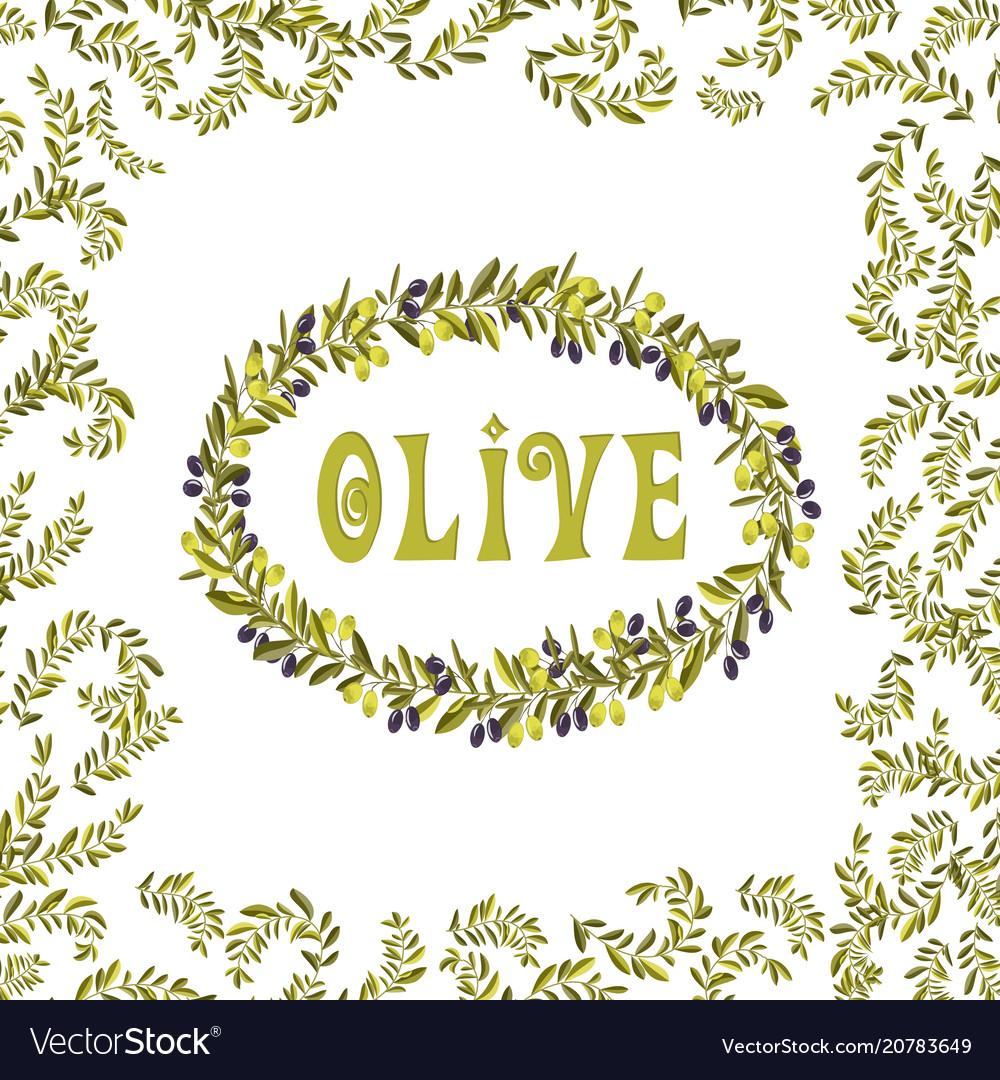 Olive oil label green element