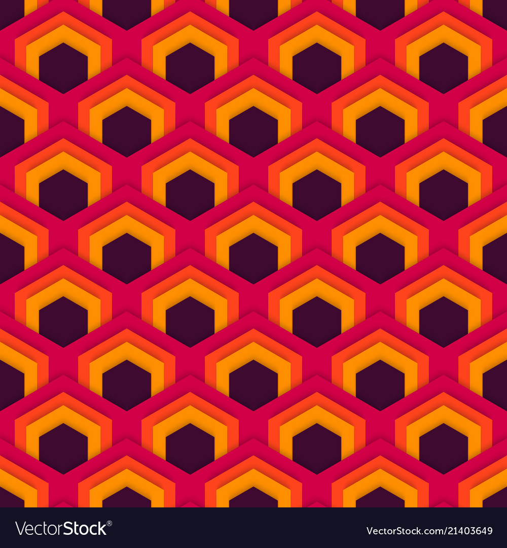 Seamless abstract pattern of hexagons in