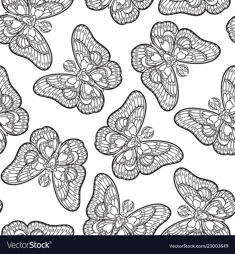 Seamless pattern with butterflies stylised moth