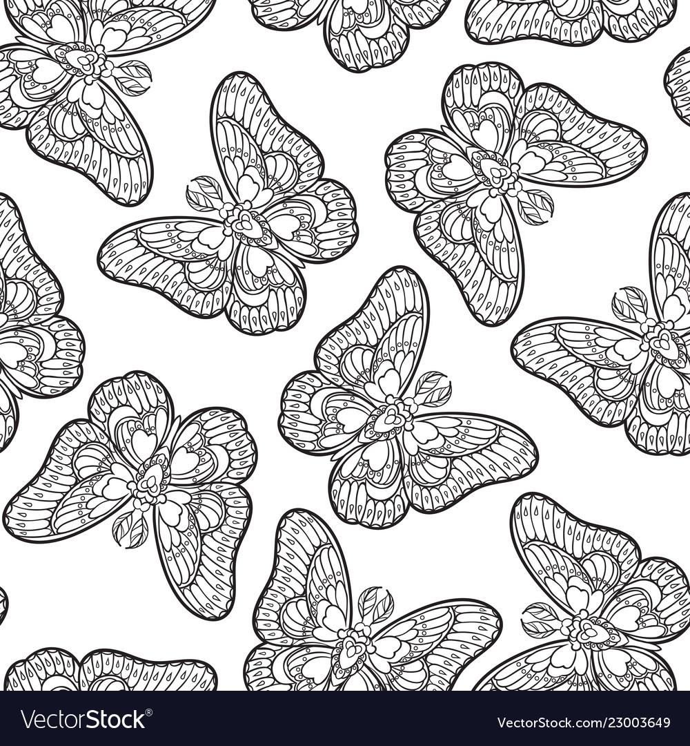 Seamless pattern with butterflies stylized moth