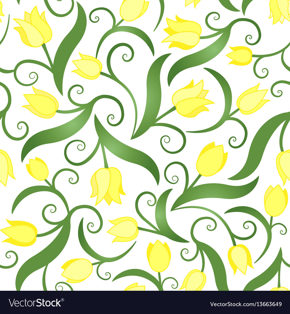 Seamless pattern with yellow tulips