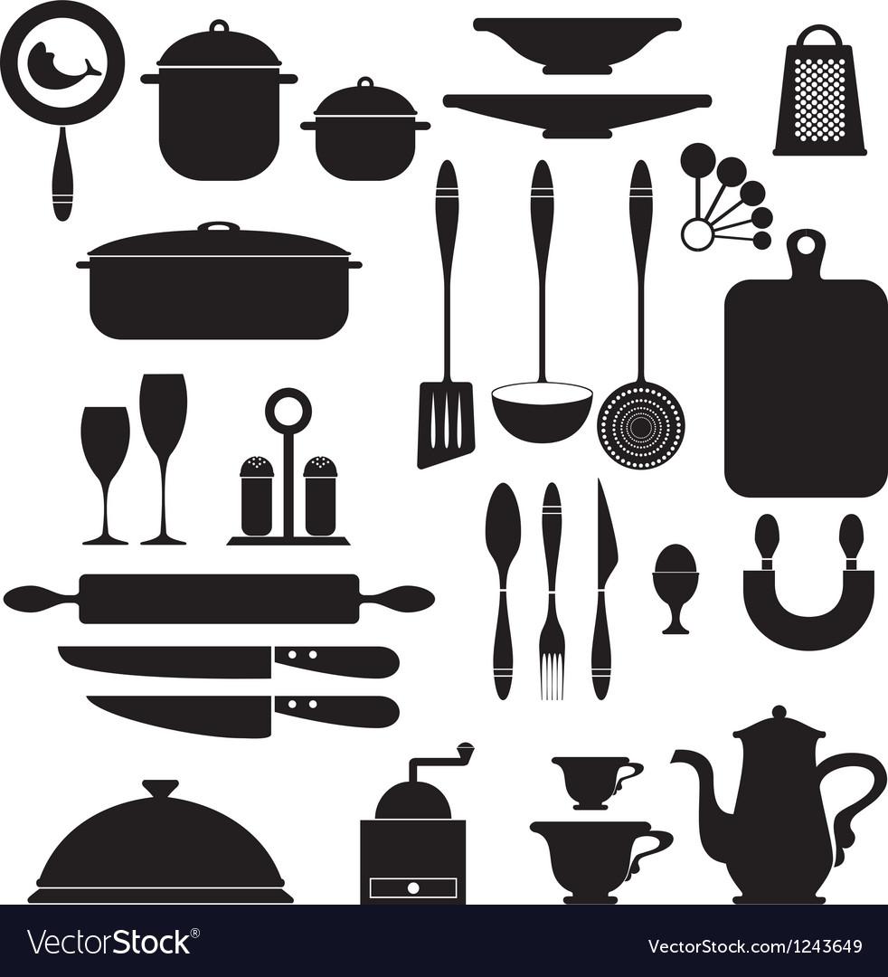Set of kitchen utensils vector image