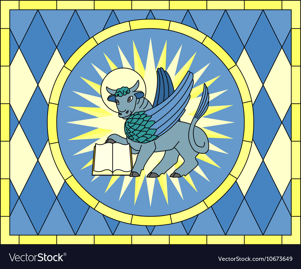 Symbol Of Luke The Evangelist Winged Ox Royalty Free Vector