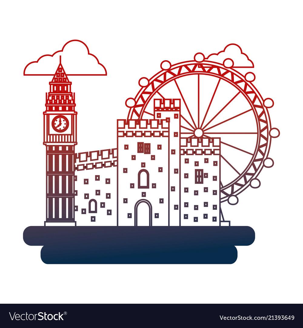 United kingdom big ben castle and london eye