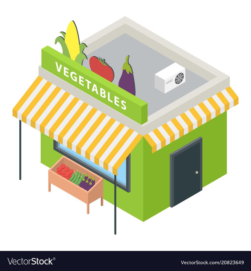 Vegetables market icon isometric style