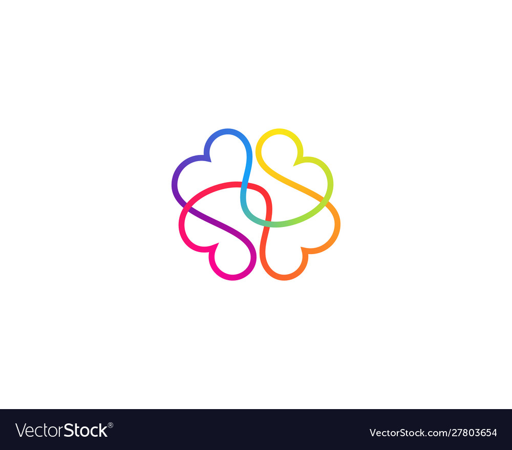 Abstract one line brain logo icon minimal style