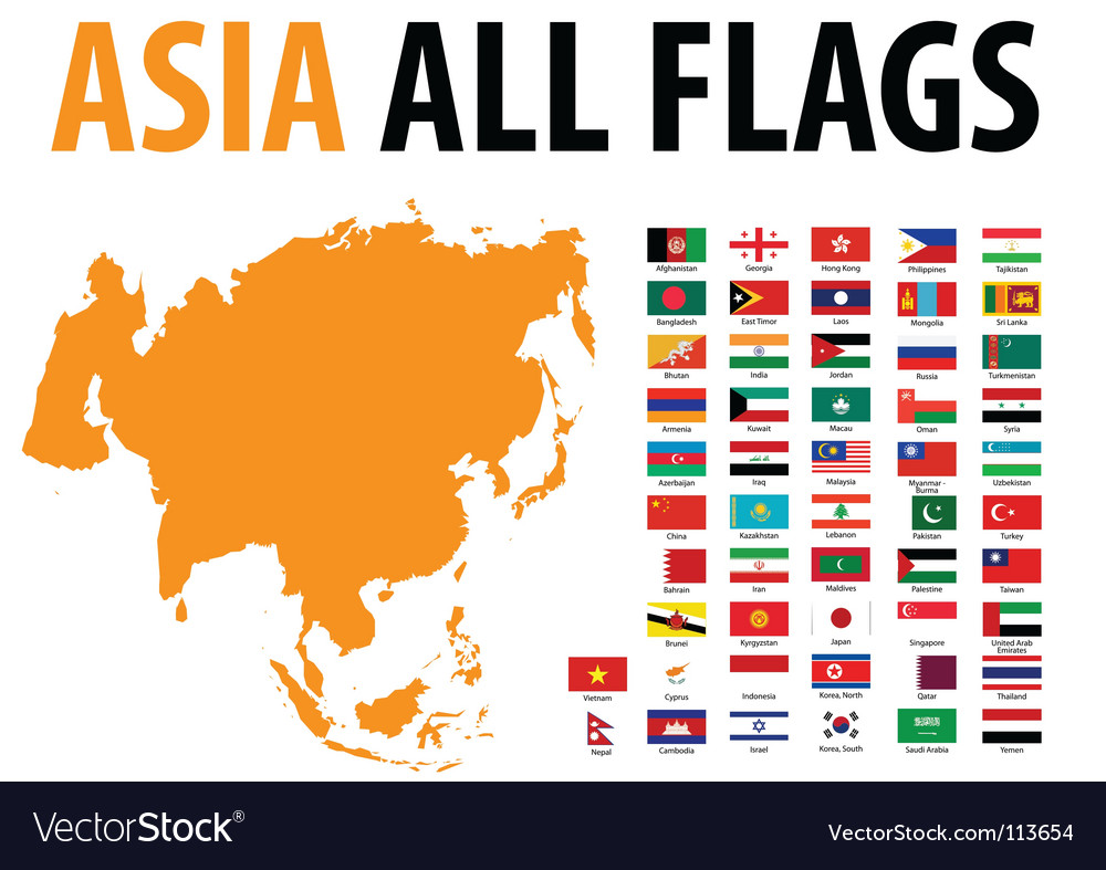 Asia all flags vector image