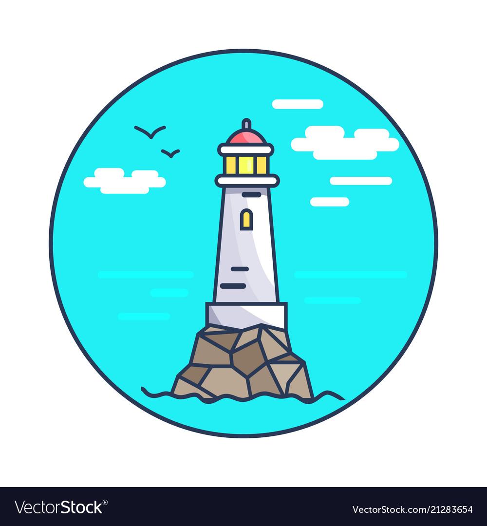 Beacon and rocks circle icon
