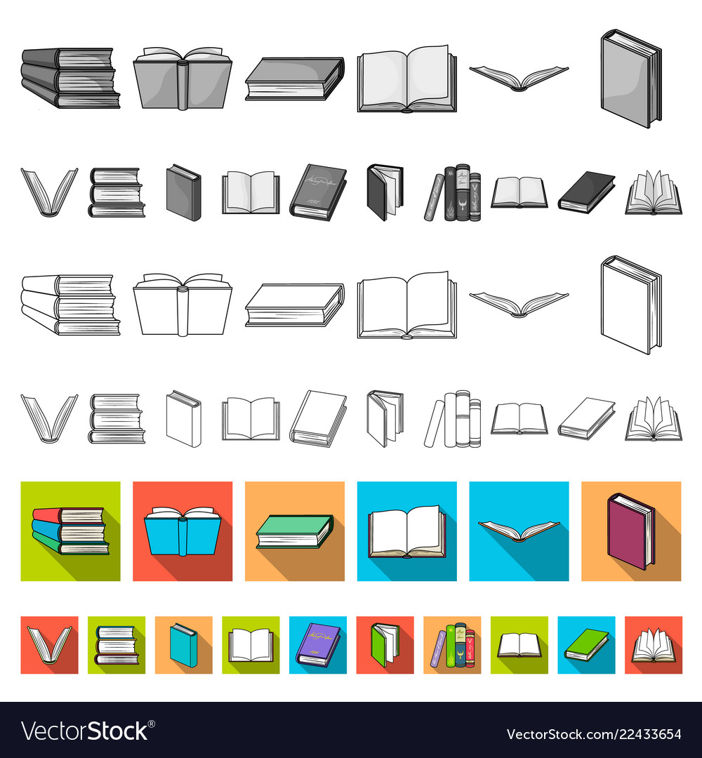 Book in the binding flat icons in set collection