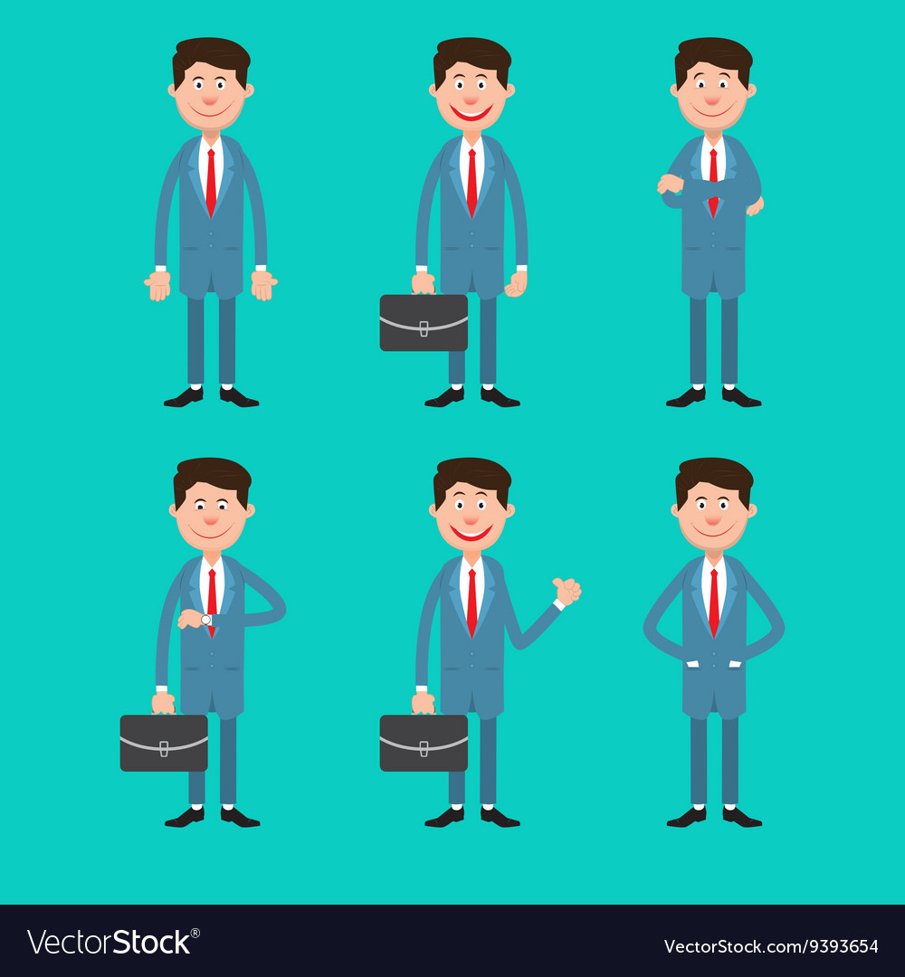 Business Man in Different Poses with Briefcase vector image