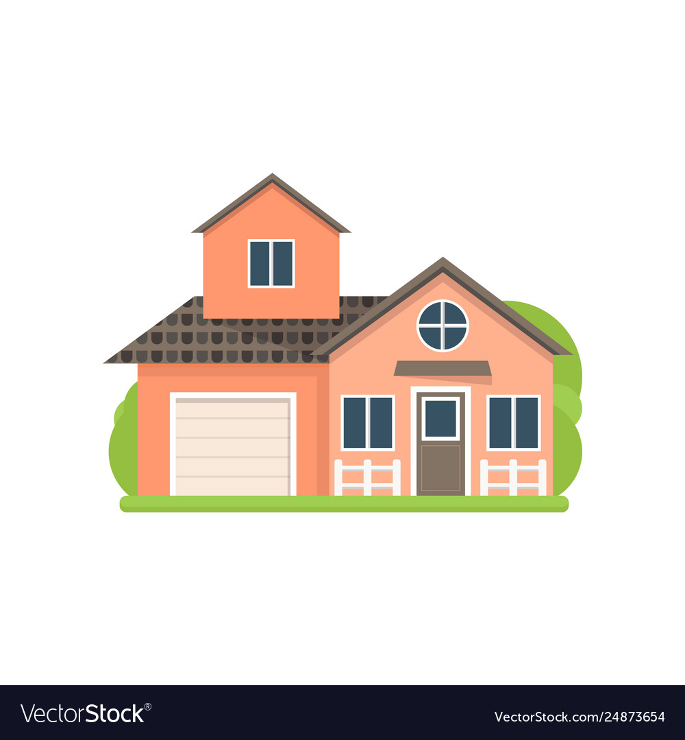 Cute Small Light Red Village House With Garage