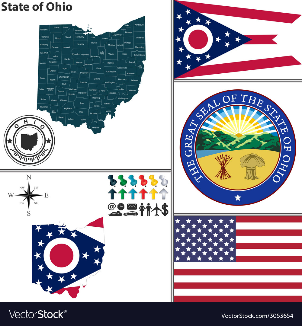 Map of Ohio with seal