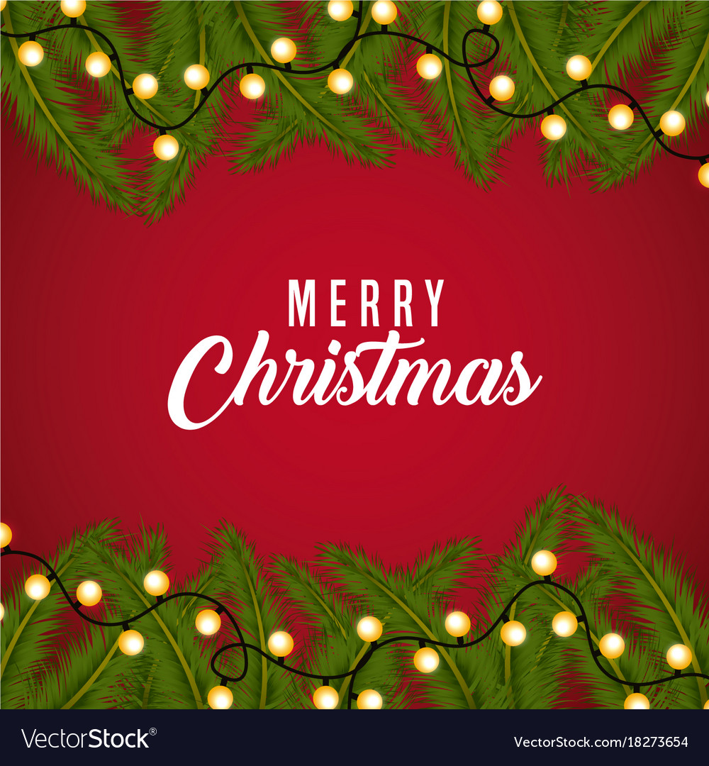 Christmas Card Border.Merry Christmas Card Greeting Branch Tree Border