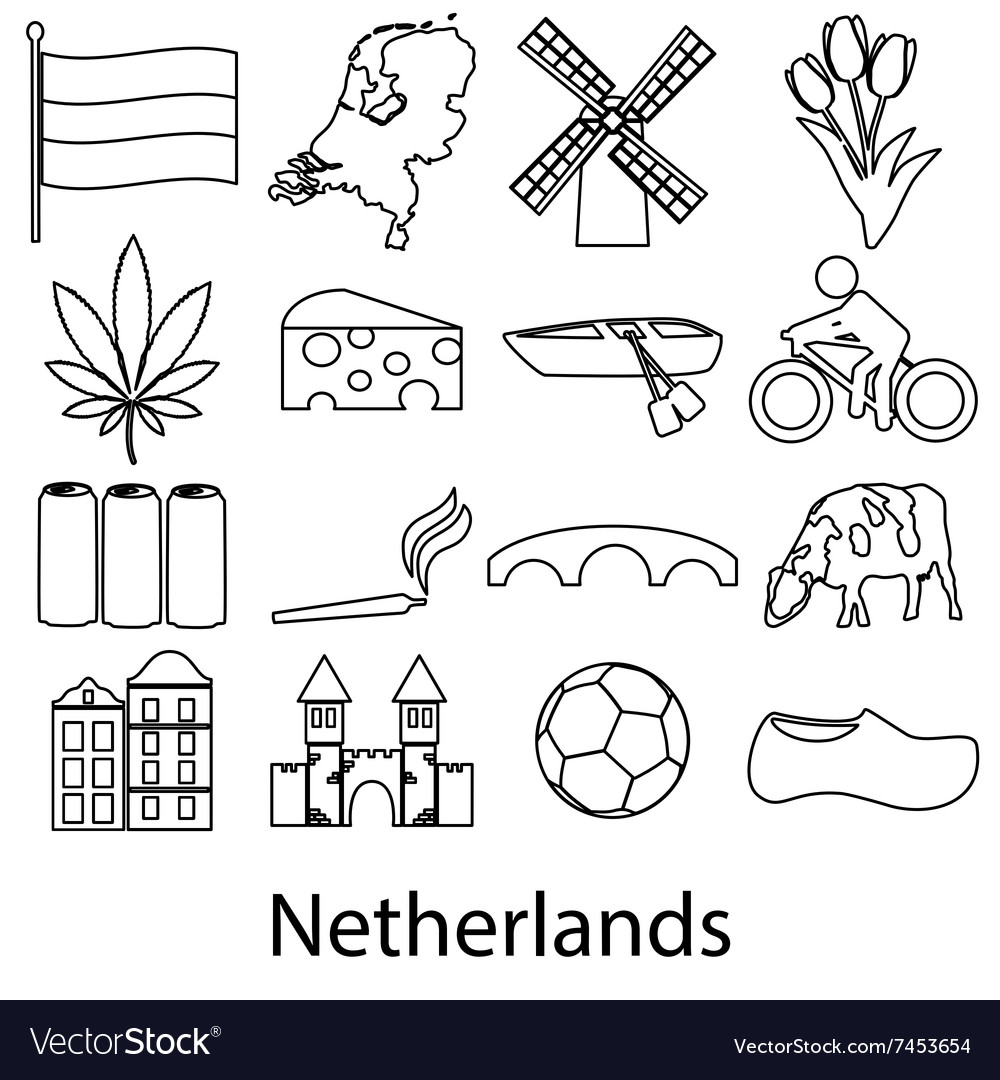 Netherlands country theme outline symbols icons